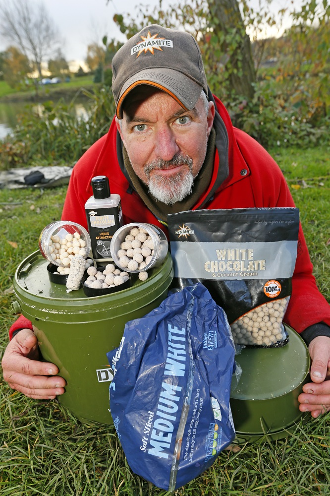 white chocolate boilies and bread for carp fishing