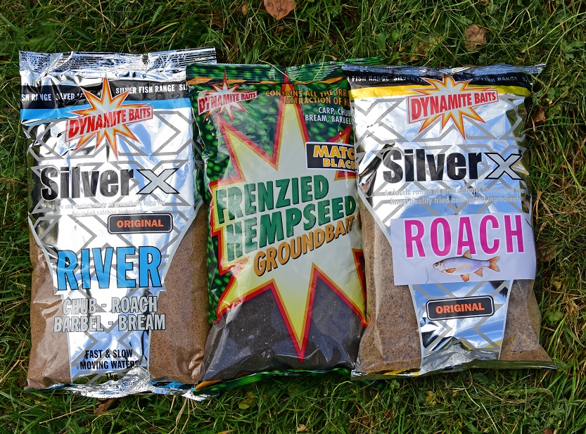 Two of Nick's top river groundbait mix. Silver X and Frenzied Hemp Black
